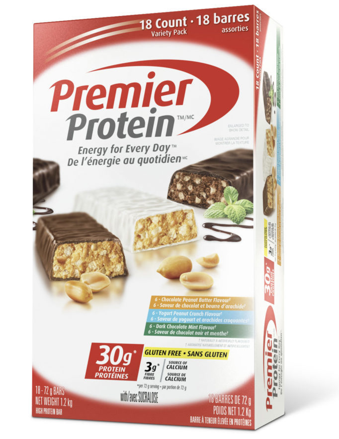 Premier Protein Gluten-Free Protein Bar 30g of protein, 3g of fibre.