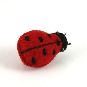red ladybird felt brooch