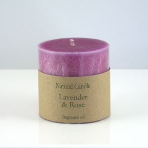 Lavender and Rose Pillar Candle