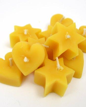 Beeswax mini hearts & stars candles