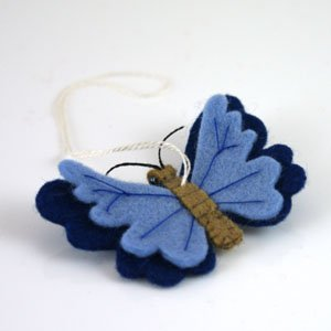 hanging felt butterfly blue