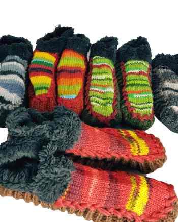 Nepalese leather soled woollen slipper