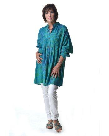Ibu Indah Lizzy Shirt batiked pintucked oversized blouse