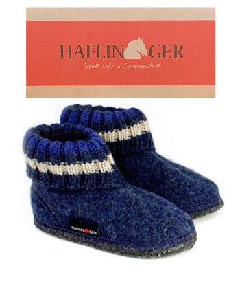 Haflinger Children's Slipper Boot Paul Jeans Blue