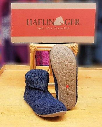 Haflinger Children Slipper Boot Karlo Mid Blue