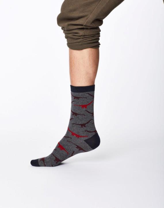 Thought Dinosaur Sock Mid Grey