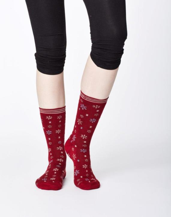 Thought Snowflake Sock Red