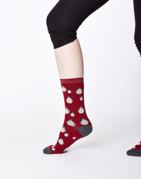 Thought Penguin Sock Red