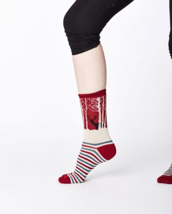 Thought Winter Woodland Sock Red