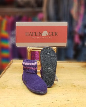 Haflinger Childrens Slipper Boot Paul Violet