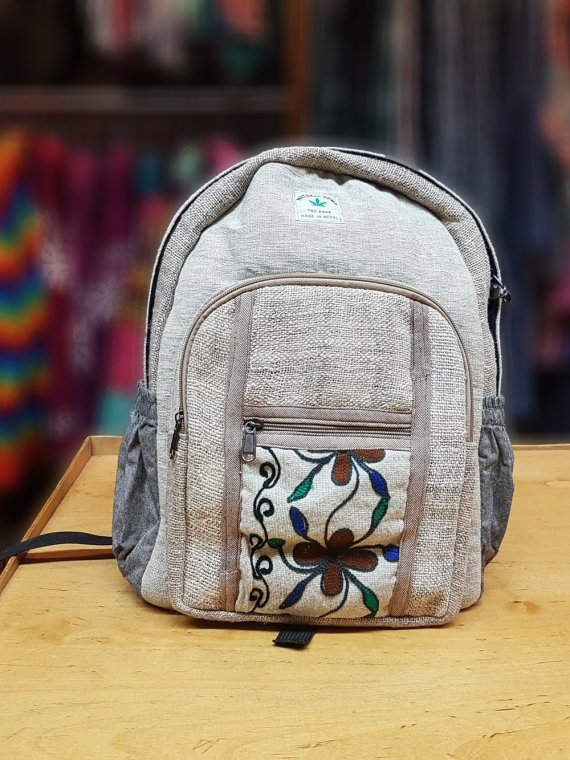 Hemp Backpack with Crewel Work