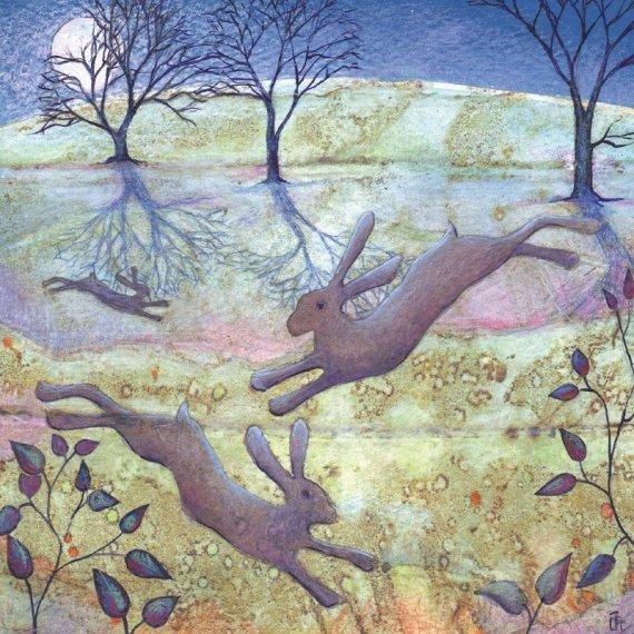 Moonlight Hares Card