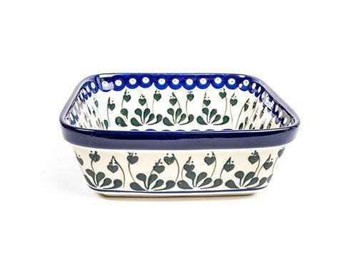 Love Leaf Square Dish, Polish Pottery Stoneware Ranges