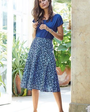 Brunel Print Peggy Skirt - Blue, by Adini