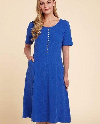 Cotton Slub Jessie Dress - Peacock