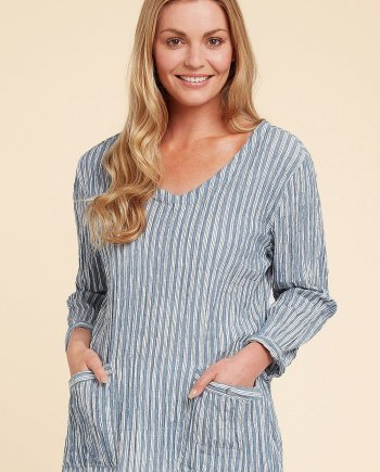 Atlantic Stripe June Top - Jetty Blue, by Adini