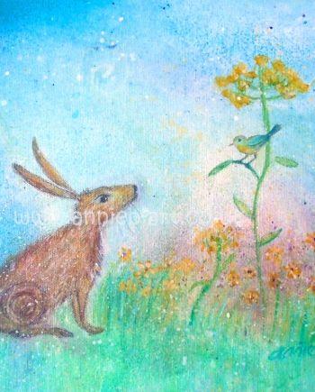 Hare & Song Bird Card by Annie B
