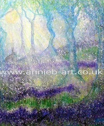 Hare in Bluebell Woods Card by Annie B