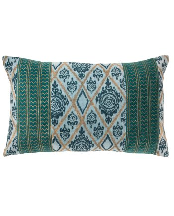 Namaste Handprinted Velvet Aqua Cushion Cover
