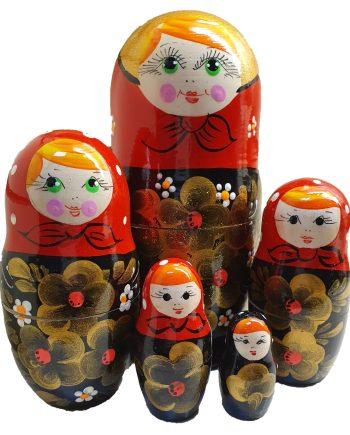 Russian Doll Set 5 pieces Khokhloma
