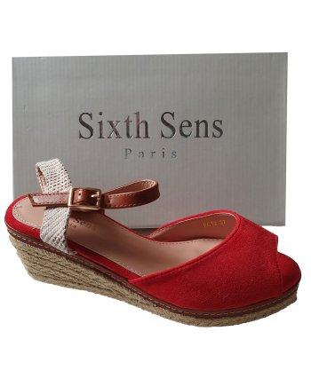 Sixth Sens Cross Over Espadrille Wedge Sandals