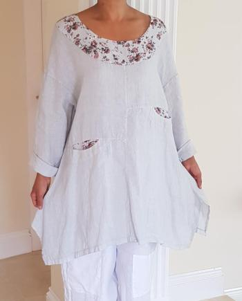 Paradiso Floral Print Scoop Neck Linen Tunic