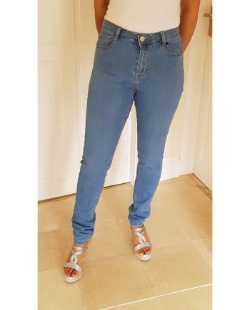 Coloured Stretched Skinny Voggo Jeans Mid Denim