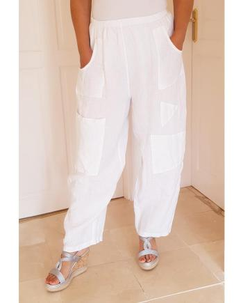 Elasticated Baggy Linen Trousers