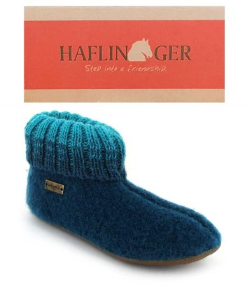 HAFLINGER Childrens Slipper Boot Everest Iris Turquoise