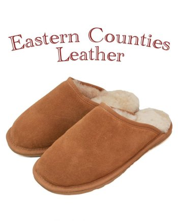 Eastern Counties Leather Unisex Sheepskin Lined Chestnut Mule Slipper