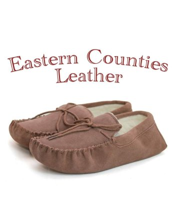 Eastern Counties Leather Unisex Sheepskin Lined Dark Camel Moccasin