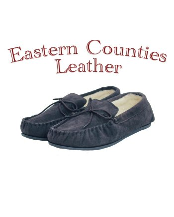 Eastern Counties Leather Unisex Wool Lined Navy Moccasin Hard Sole