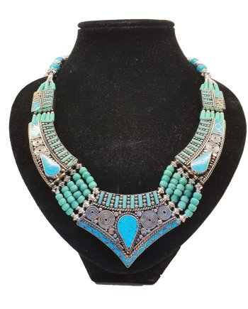 Semi precious on Turquoise Metal Choker