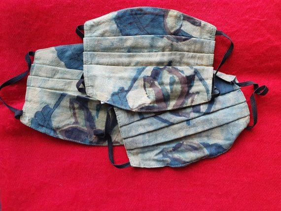5 Pocket Pleated Face Mask Blue/Beige