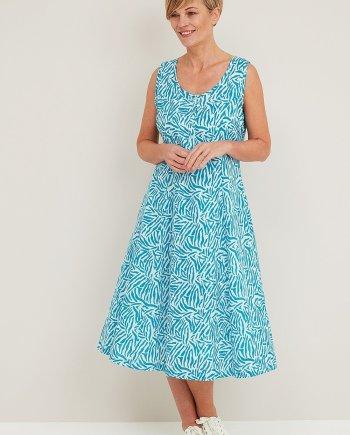 Flotilla Print Endal Dress - Dark Aqua
