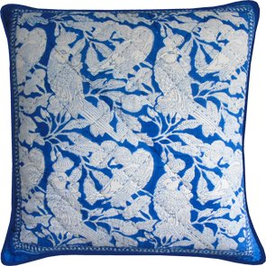 Block Printed Cushion Cover Blue Parrot