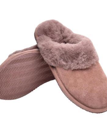Ladies Sheepskin Mink Collar Mule