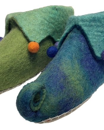 Adult Blue/Green Jester Slippers