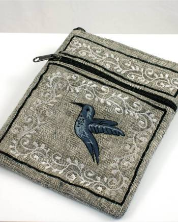 Embroidered Cotton Bag with Crewel Design