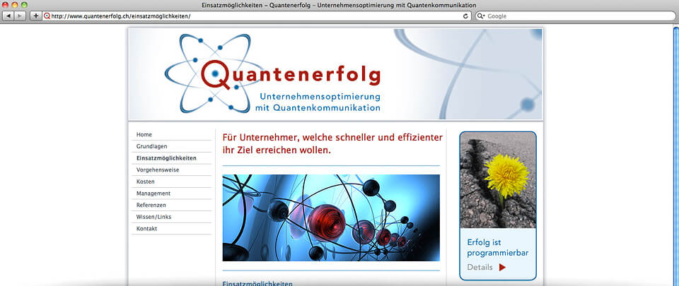 Webdesign und -programmierung Website Quantenerfolg Unternehmensberatung, Pfäffikon (SZ)