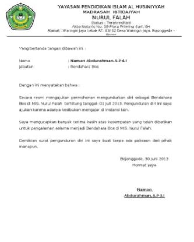 15+ Contoh Surat Pengunduran Diri atau Resign | Format