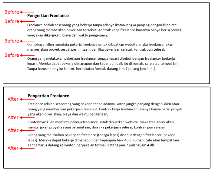 perbedaan spacing before dan after 1