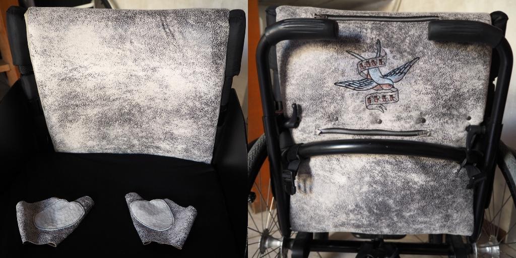 rugleuning rolstoel geborduurd