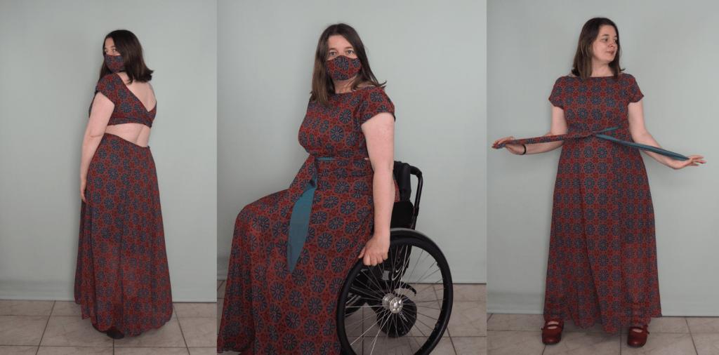 lange jurk met bijpassend mondkapje