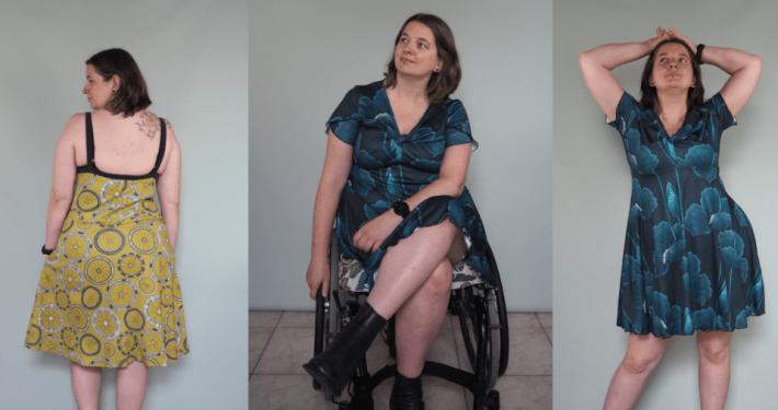 3 foto's van jurken. Op de 1e foto zie je de rug van een groengele jurk met wielenprint en smalle zwarte schouderbandjes. Op de 2e en 3e een petrolkleurige jurk met klaprozenprint, waarvan de 2e zittend in een rolstoel