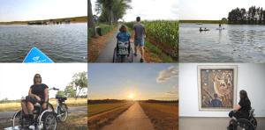 landschapsfoto's van Olburgen en omgeving, waarbij Jacqueline bij een aantal in beeld is met rolstoel