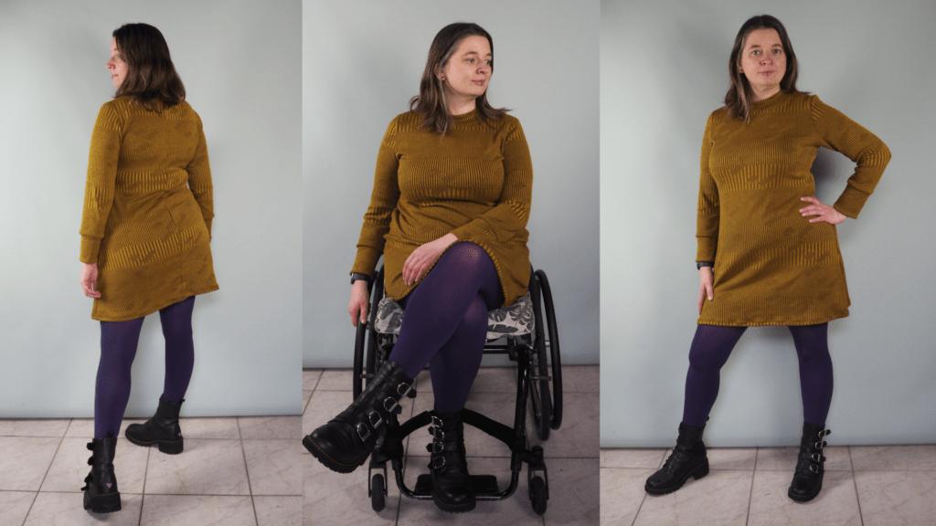 3 foto's van Jacqueline in een okergele boven de knie vallende jurk (Freya Dress) met lange mouwen en met een paarse panty en zwarte gespschoenen. Op de middelste foto zit ze in een rolstoel.