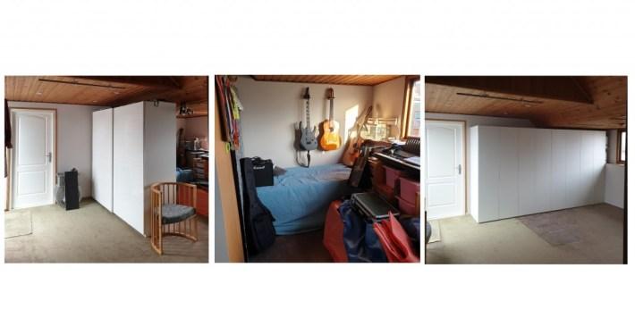 drie foto's van dezelfde kamer, waarbij het op de eerste twee een rommel is en op de laatste alleen een strakke kastenwand te zien is