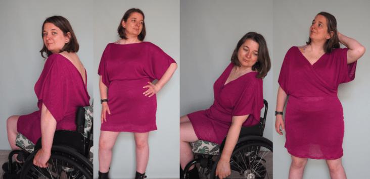Vier foto's van Jacqueline met een paarse jurk. Op de eerste twee foto's draagt ze de jurk achterstevoren, met een hoge halslijn voor en een diepe V achter. Op de laaatste twee foto's draagt ze 'm met de V-hals voor.