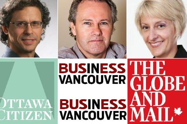 از راست:  Alison Boulton  در روزنامه گلوب اندمیل، نلسون بنت Nelson Bennett  در Business in Vancouver  و  David Pugliese در اتاوا سیتزن